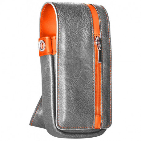 Daytona Wallet in Grey and Orange Leather