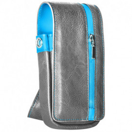 Daytona Wallet in Grey and Blue leather